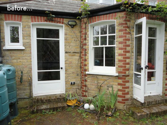 Garden before with old steps and brick terrace