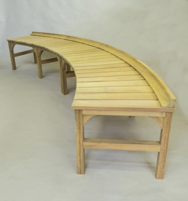 Curved iroko bespoke bench