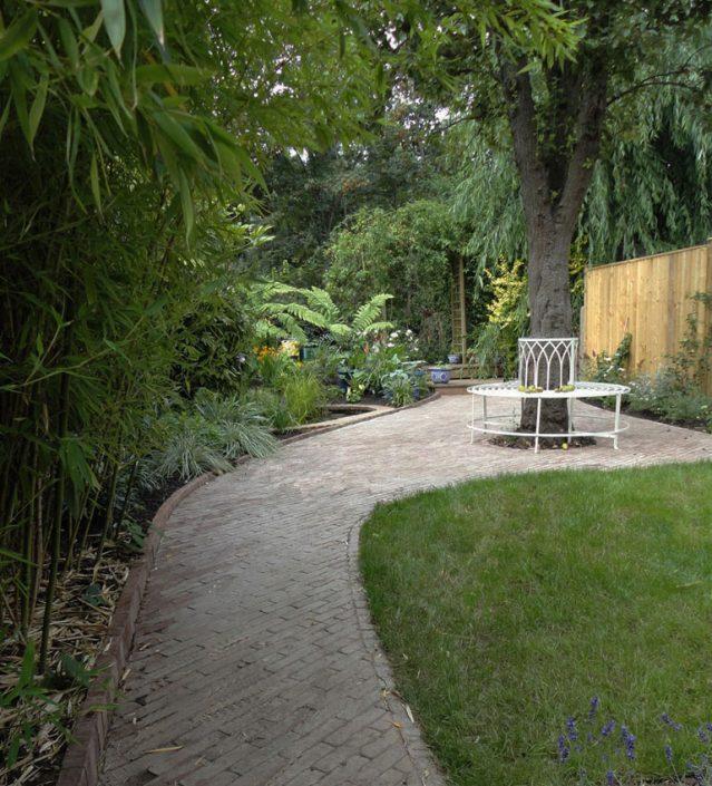 Curving brick path & terrace