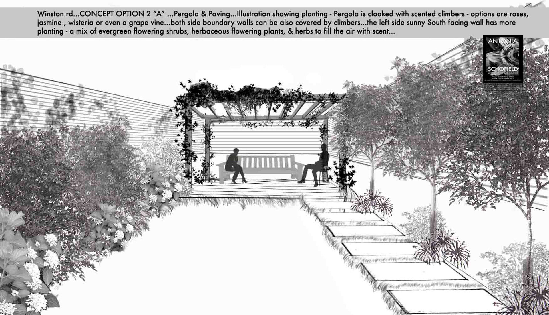 Pergola garden with stepping stone path