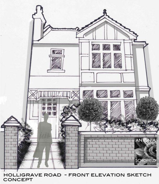 Concept sketch -grander frontage and entrance