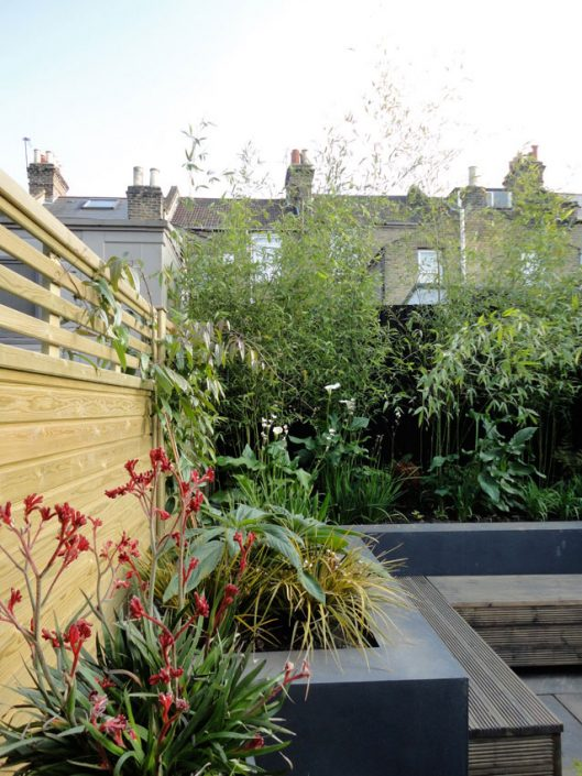 L shaped raised beds