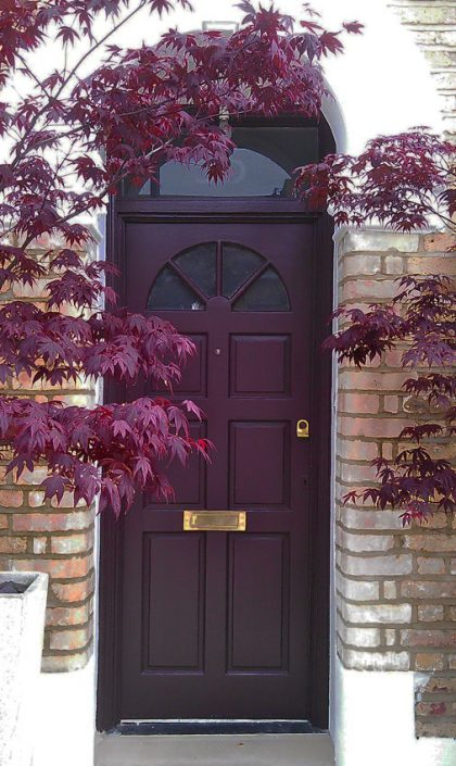 Front door painted to match the acers