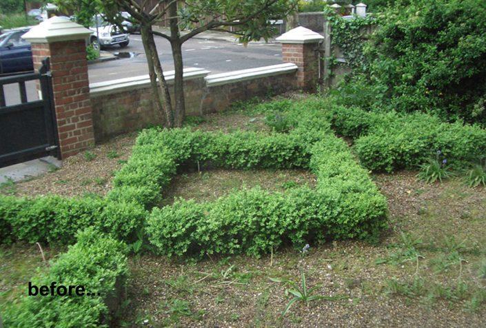 Bare garden before