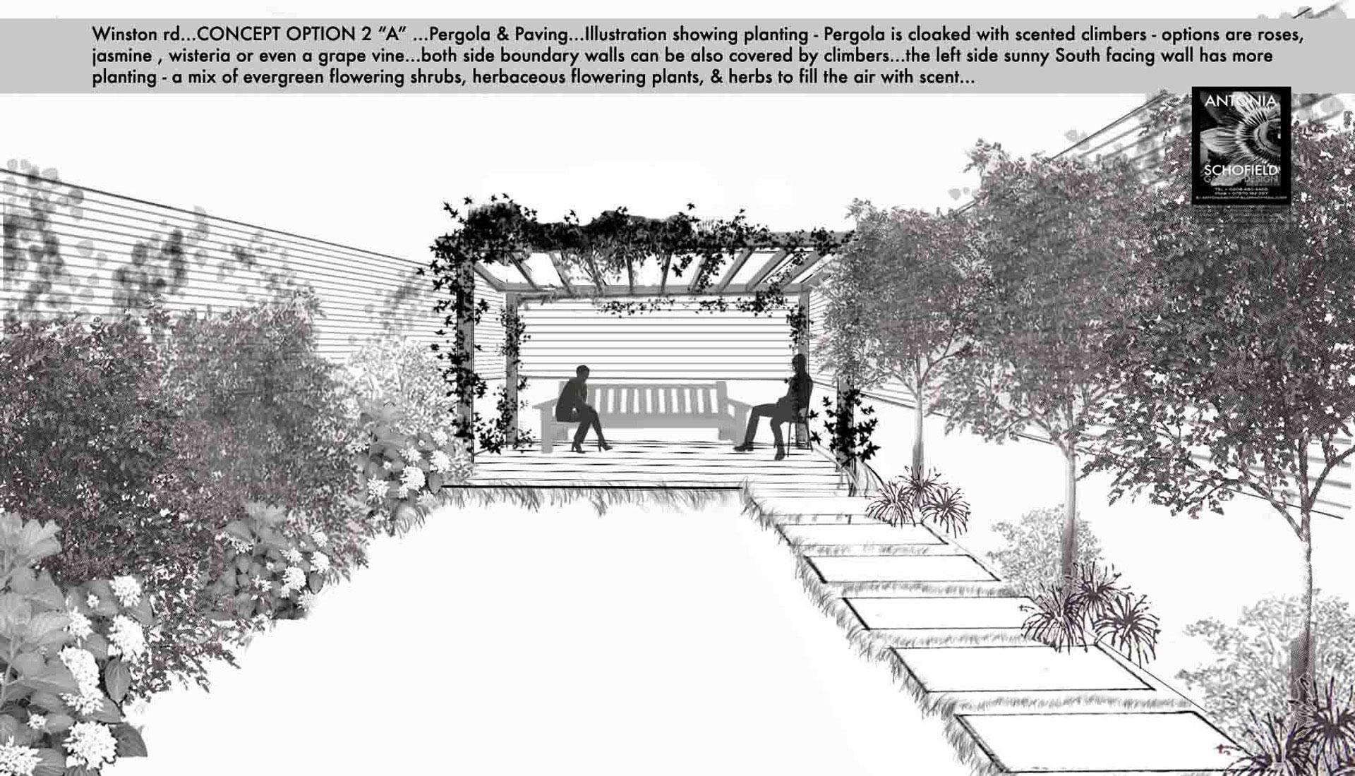 Pergola garden with stepping stone path