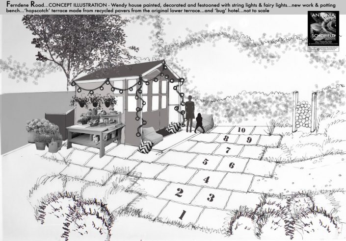Girls garden area with wendy house and hopscotch terrace