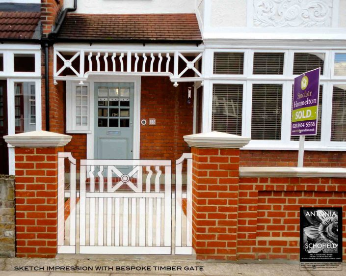 Concept bespoke gate to link to porch design