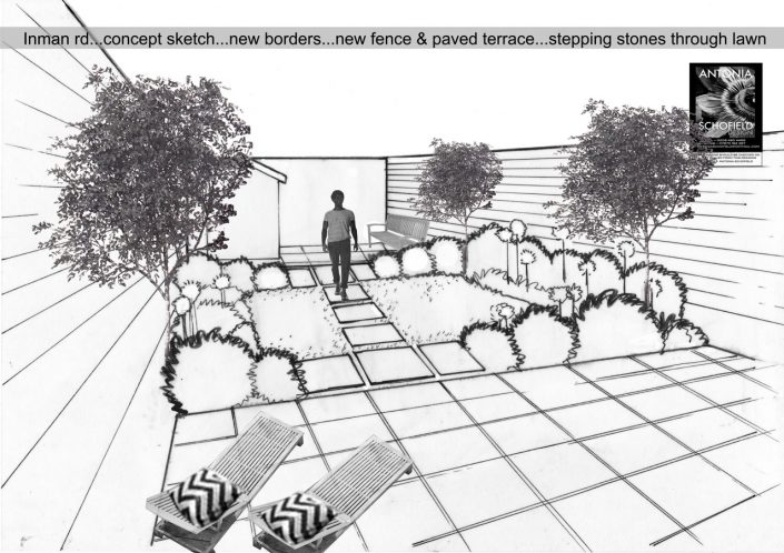 Concept sketch with olive trees