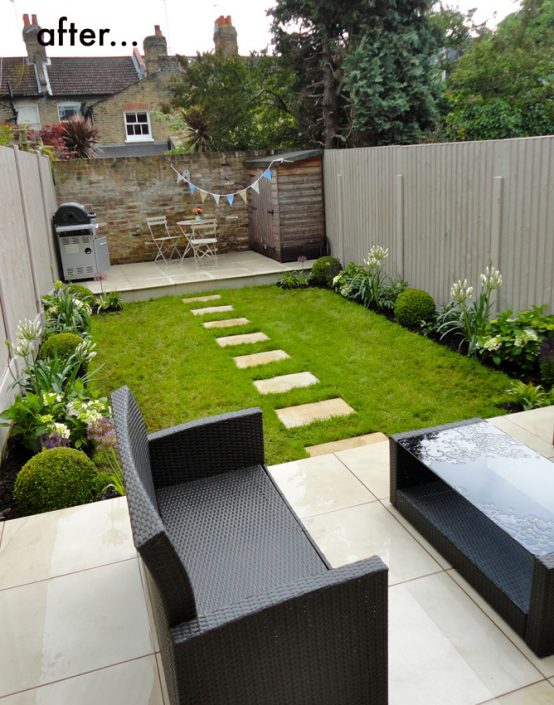 New garden design, sandstone terraces & stepping stones path
